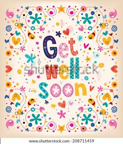 Get well soon card - stock vector