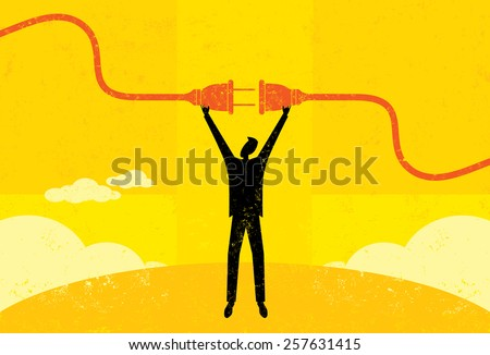 Getting Plugged In. A businessman connecting a power cord. The man and electric plug are on a separate labeled layer from the background. - stock vector