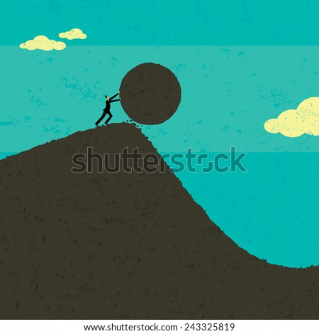 Getting the ball rolling A businessman getting the ball rolling. The man & boulder and background are on separate labeled layers. - stock vector