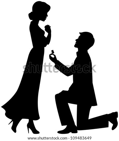 Getting up on his knee a man proposes a woman to marry vector illustration - stock vector