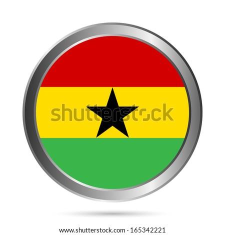 Ghana flag button on a white background. Vector illustration. - stock vector