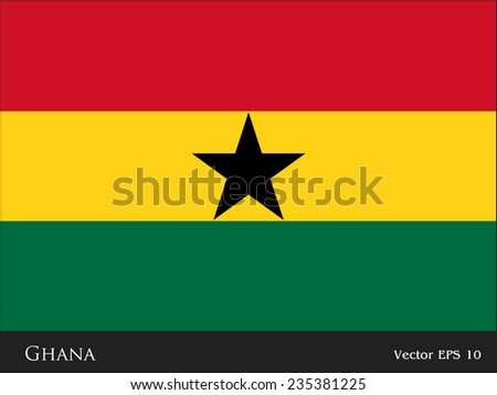 Ghana flag isolated vector in official colors and Proportion Correctly - stock vector
