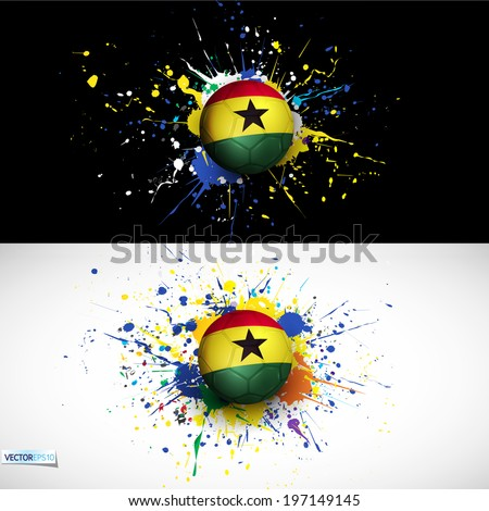 Ghana flag with soccer ball dash on colorful background, vector illustration - stock vector