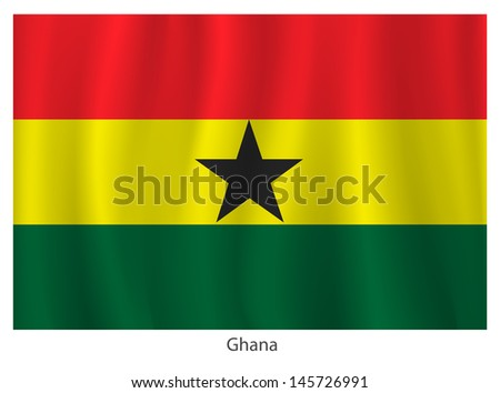 Ghana flag with title on the white background - stock vector