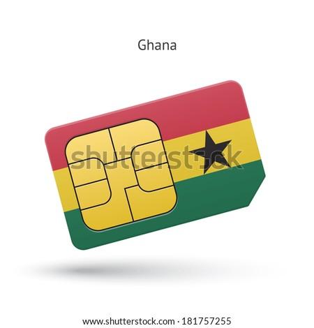 Ghana mobile phone sim card with flag. Vector illustration. - stock vector