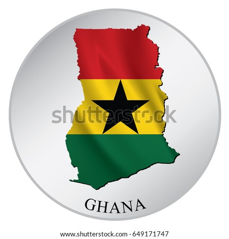 Ghana vector sticker with flag and map label round tag with country name