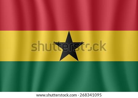 Ghana waving flag - stock vector