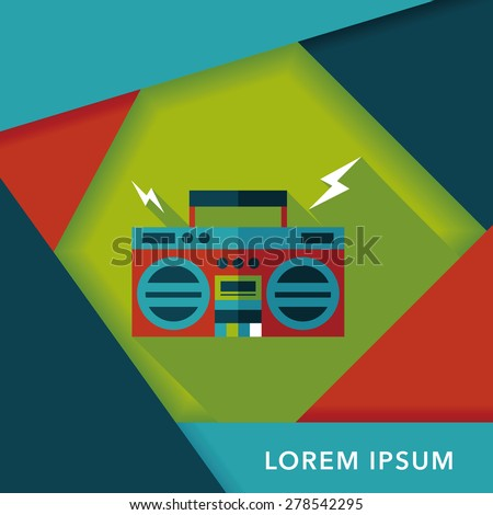 ghetto blaster audio flat icon with long shadow,eps10 - stock vector