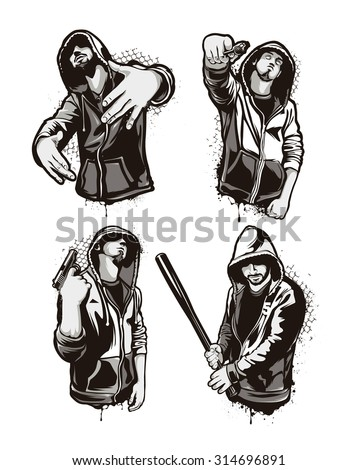 Ghetto Warriors. Set of four vector gangster characters. Grunge style vector art. - stock vector