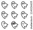 Ghost Face Expressions Icons - stock vector