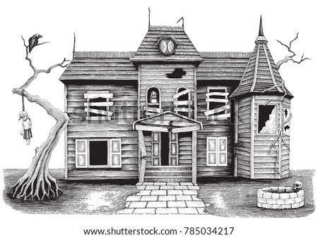Ghost House Hand Drawing Vintage Style Isolate On White BackgroundHalloween Day Symbol And Background