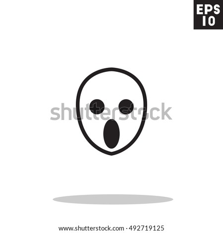 Ghost monster face halloween icon in trendy flat style isolated on grey background. Id card symbol for your design, logo, UI. Vector illustration, EPS10. Colored.