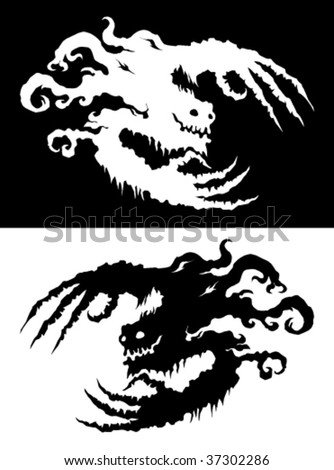 Ghostly bogeyman Halloween design element, black and white - stock vector