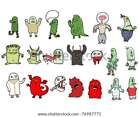 ghosts, aliens and monsters cartoon