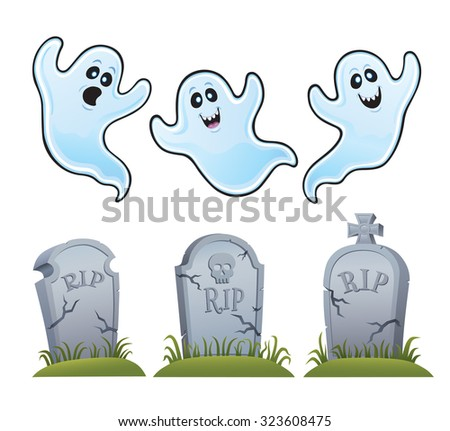 Ghosts and Tombstones - stock vector