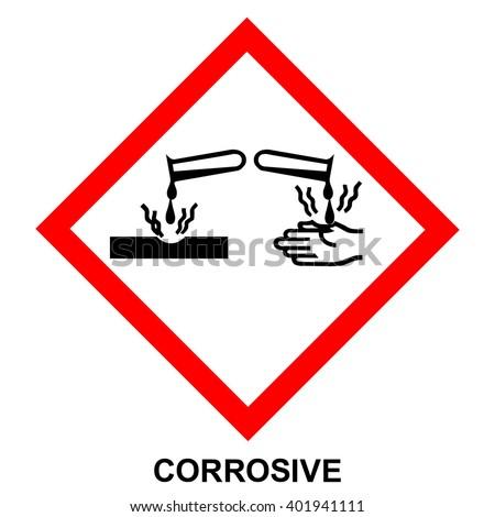 GHS05 hazard pictogram - CORROSIVE , hazard warning sign CORROSIVE , isolated vector illustration - stock vector