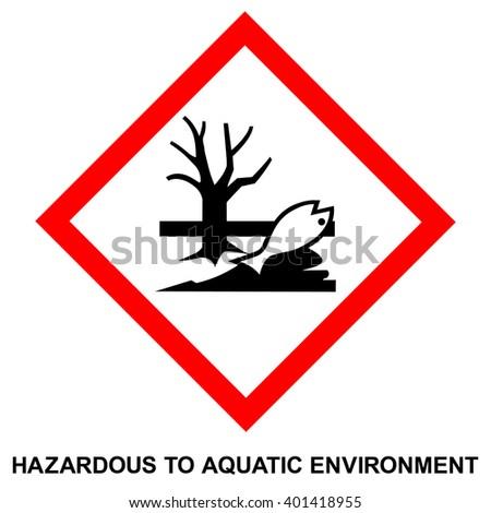 GHS hazard pictogram - HAZARDOUS TO AQUATIC ENVIRONMENT , hazard warning sign HAZARDOUS TO AQUATIC ENVIRONMENT , isolated vector illustration - stock vector