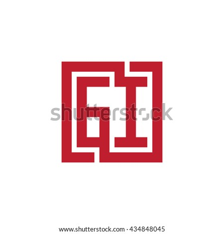 GI initial letters looping linked square logo red
