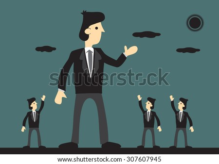 Giant businessman well received by peers. Symbolism for big successful corporation. Creative vector cartoon illustration on business leader concept. - stock vector