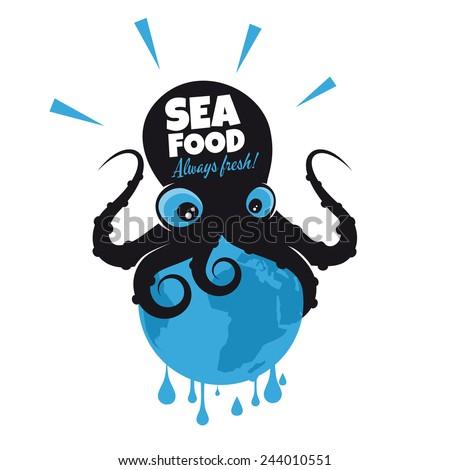 giant cartoon octopus sitting on the earth - stock vector