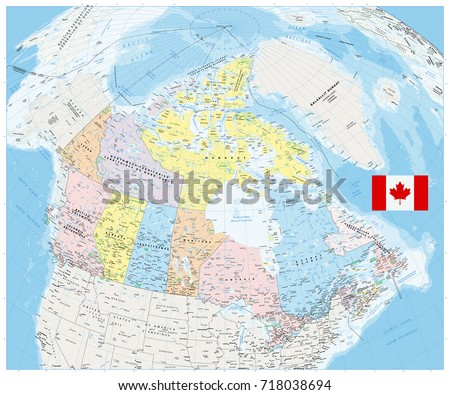Giant Detailed Political Map Canada Cities Stock Vector 718038694