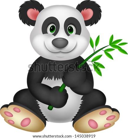Giant Panda eating bamboo - stock vector