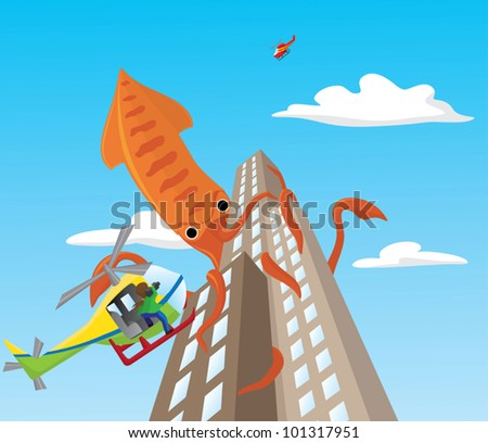 Giant squid attacks skyscrapers - stock vector