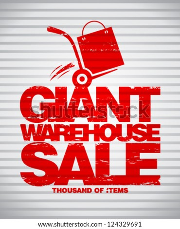 Giant warehouse sale design template with hand truck. - stock vector