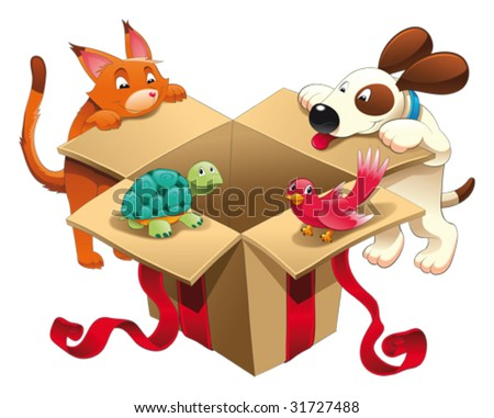 Gift and pets.  Funny cartoon and vector characters - stock vector