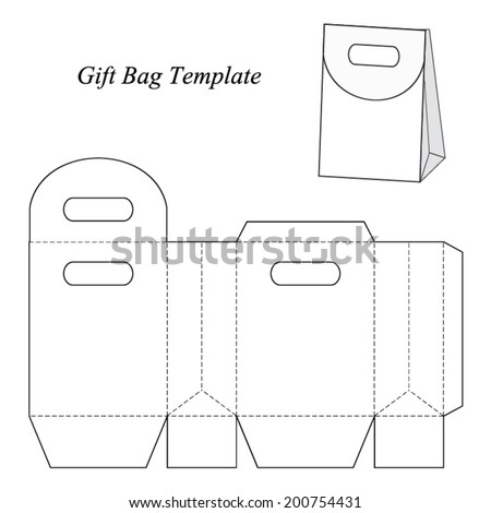 Gift bag template with round lid, vector illustration