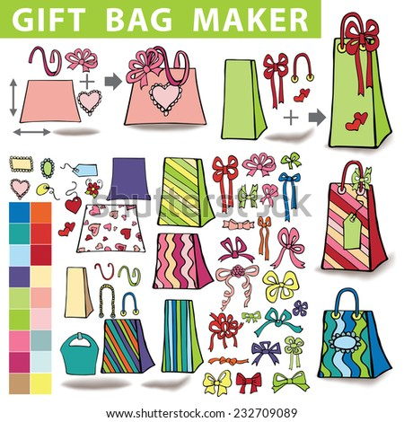 Gift bags  maker,constructor.Set of colorful gift boxes with label,tag. Hand drawing style.You can quickly make a box,bag.Easy to edit.Doodle Holiday Vector illustration.  - stock vector
