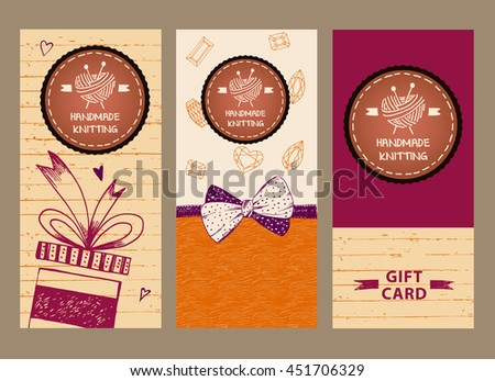 Gift banner for master classes in needlework. Ball of yarn in the form of heart and knitting needles. Hand drawn vector logo. Knit and Crochet. - stock vector