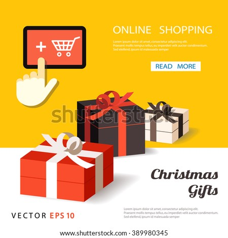 gift banner, surprise boxes, shop on line, paper gift boxes. vector illustration - stock vector