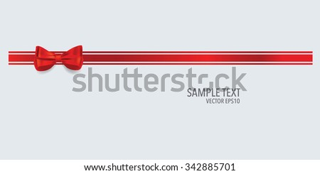 Gift bow and shiny red ribbon on white background with copy space. Vector illustration. - stock vector