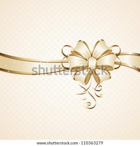 Gift bow on beige background, illustration. - stock vector