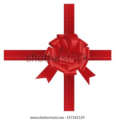 gift bow ribbon - stock vector