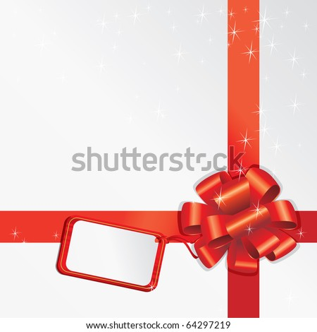 Gift Bow With Empty Card For Your Text - stock vector