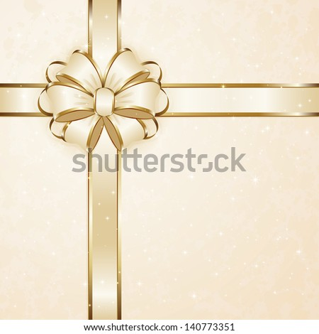 Gift bow with tinsel on beige background, illustration. - stock vector