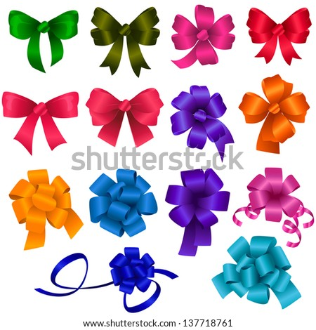 Gift Bows - Set - Isolated On White Background - Vector Illustration, Graphic Design Editable For Your Design - stock vector