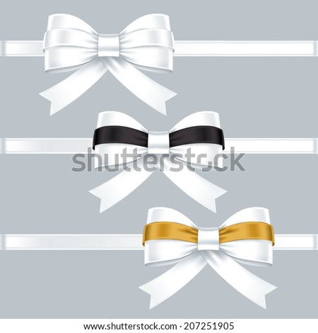 gift bows with ribbons - stock vector