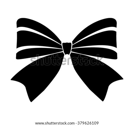 Gift bows with ribbons black color on white background vector illustration - stock vector