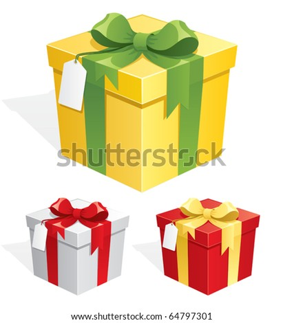 Gift Box: A gift box in 3 color versions. No transparency used. Basic (linear) gradients used. - stock vector