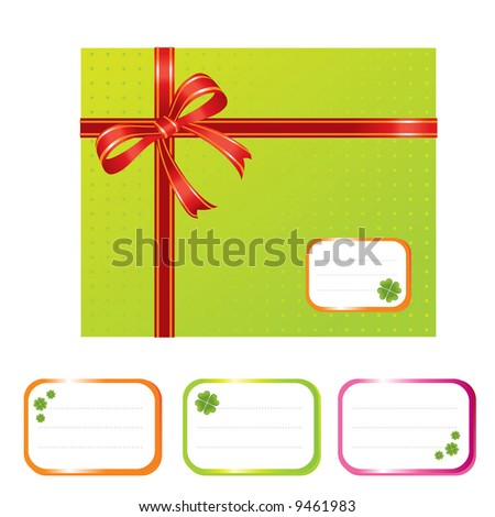 gift box and designation cards with shamrocks - vector illustration - stock vector