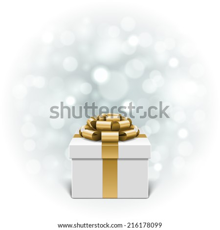 Gift box and light christmas vector background. Greeting card or invitation. Eps 10.  - stock vector