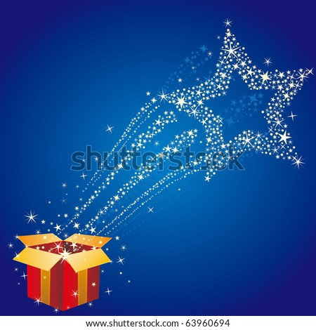 gift box and star,starry background - stock vector