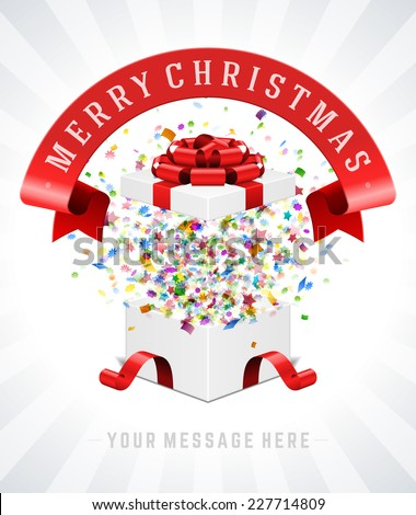 Gift box and with red bow and ribbon vector background. Merry christmas message. - stock vector