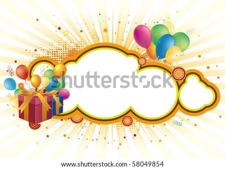 gift box,balloon,celebration background - stock vector