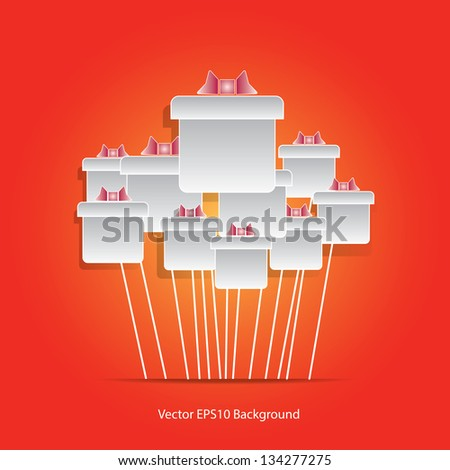 Gift box balloons on Orange background - stock vector