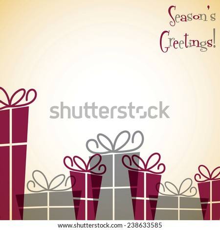 Gift box Christmas card in vector format. - stock vector