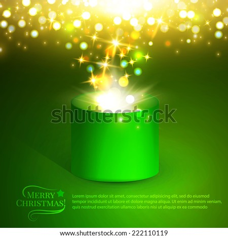 Gift box. Christmas lights. Vector illustration - stock vector